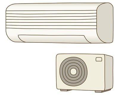 エアコンの室内機と室外機のパイプを通って、冷媒が熱を運ぶ