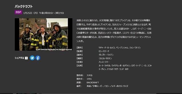 『バックドラフト』NHKのBSプレミアムでテレビ放送