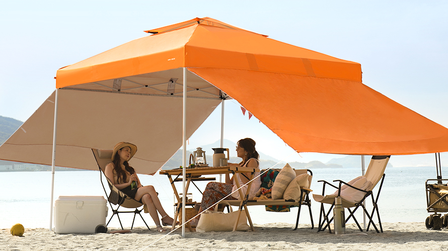 タープテント 2.5m サイドシート2枚セット 送料無料 海用 ワンタッチタープテント