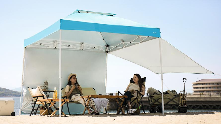 タープテント 2.5m サイドシート2枚セット 送料無料 海用 ワンタッチタープテント ターコイズ