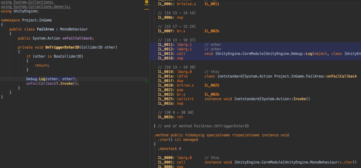 Rider2019.1アップデートで待望のIL Viwerが実装されている_1