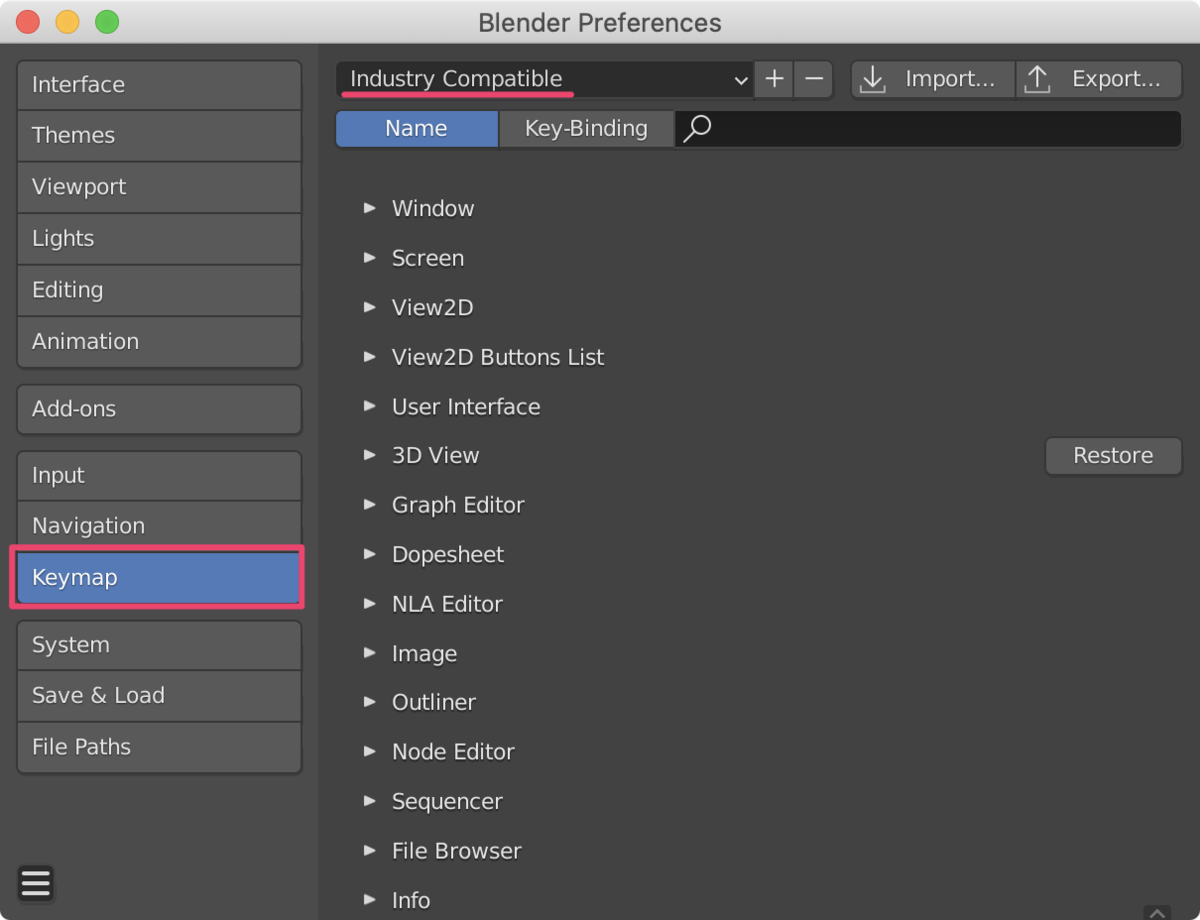 【Blender】Unityシーンビューの操作性に合わせる方法_1