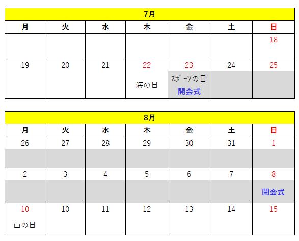 オリンピック2021カレンダー(予測)