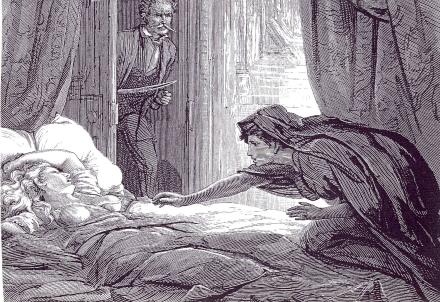 ベルタ・ラインフェルト嬢を毒牙にかけんとするカーミラ。
