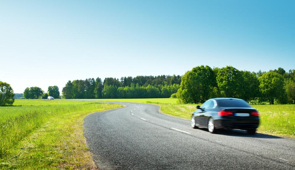 草原の中を走る車