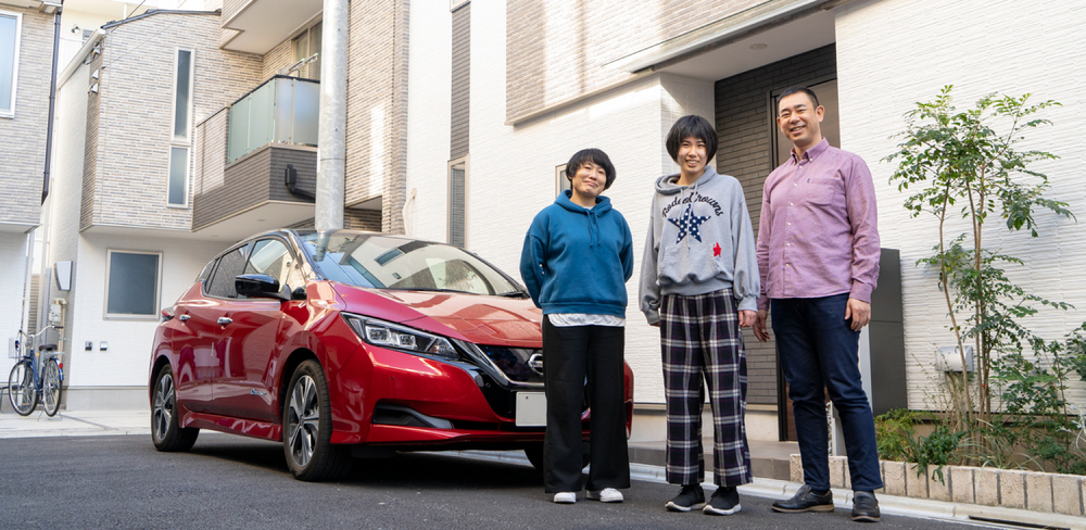 電気自動車(EV)と竹村さん家族