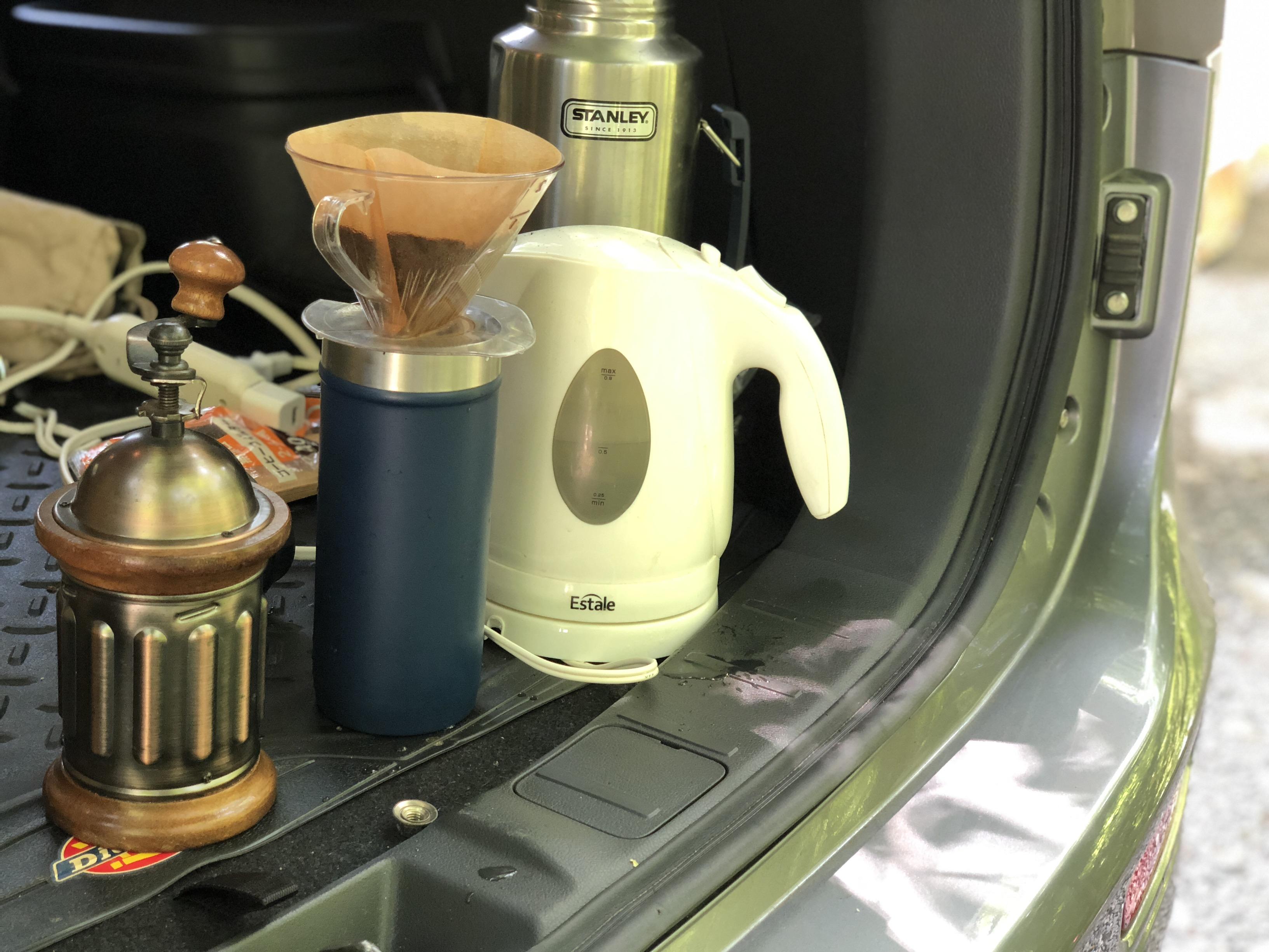 車内コンセントでコーヒー