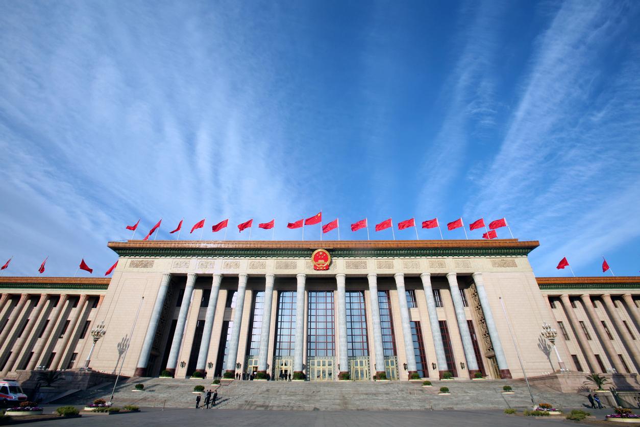istock画像 中国国旗、建物