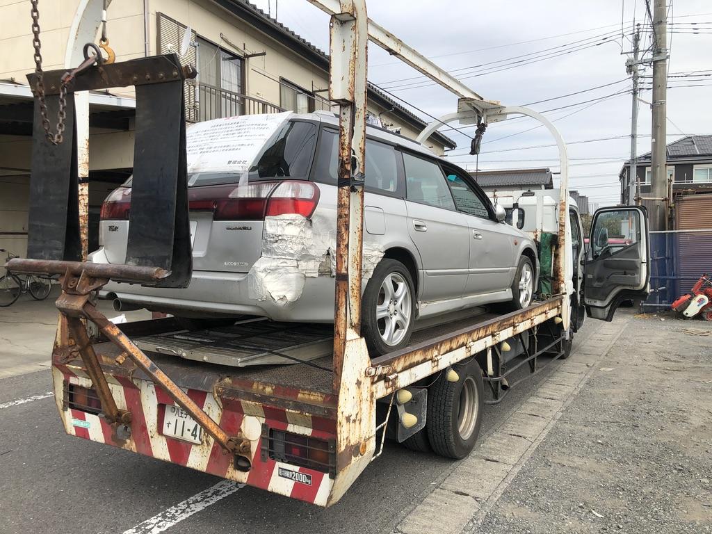 所沢市のレッカー車での廃車引き取り