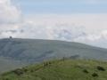 登山道から霧ヶ峰を展望 雲の間から八ヶ岳