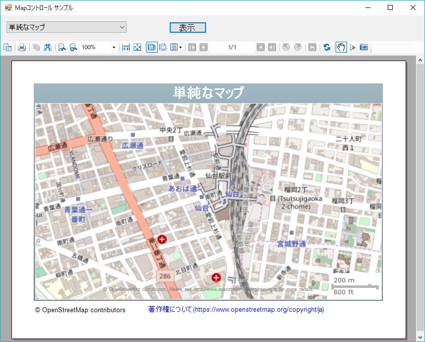 単純なマップ(仙台駅の周辺)