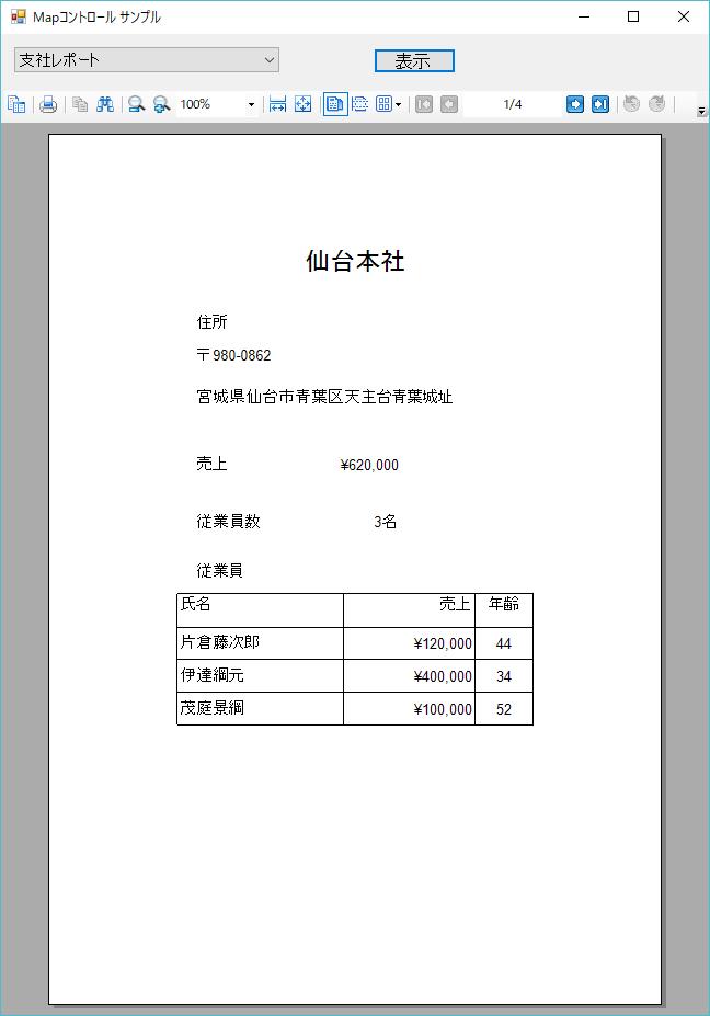 支社の詳細情報を表すレポート