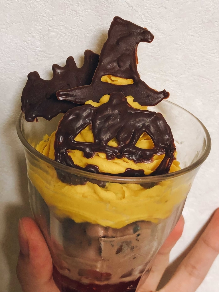 かぼちゃクリームとチョコパフェ