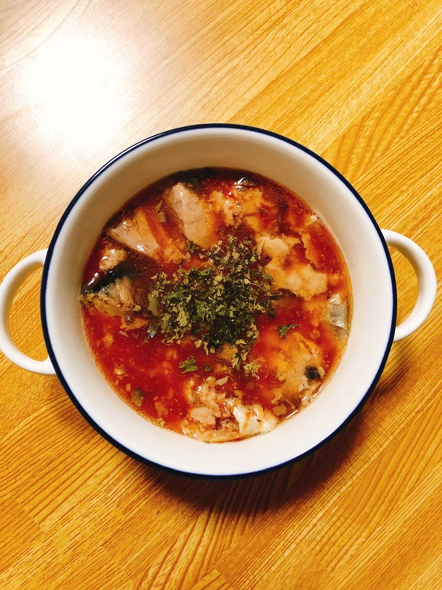サバ缶トマトスープ