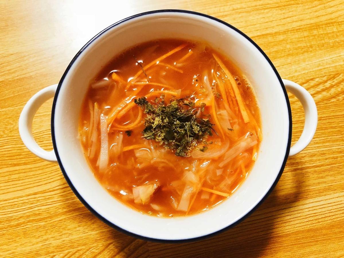 ザワークラウトを使ったトマトスープ