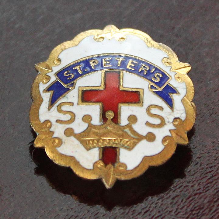 USAヴィンテージピンバッジ白10KGF|ST.PETER'S 教会日曜学校メンバーブローチ