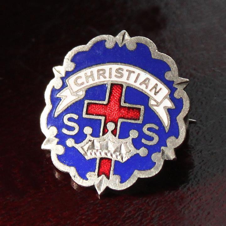 USAヴィンテージピンバッジ青|CHRISTIAN教会日曜学校メンバーブローチ [ACS-18-004]