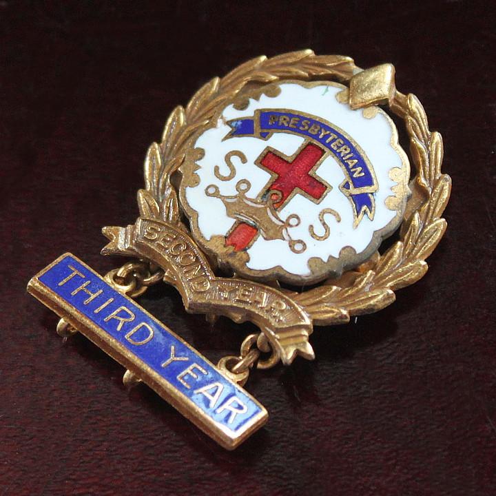 USAヴィンテージピンバッジ白3rd10KGF|PRESBYTERIAN教会日曜学校メンバーブローチ [ACS-18-011]