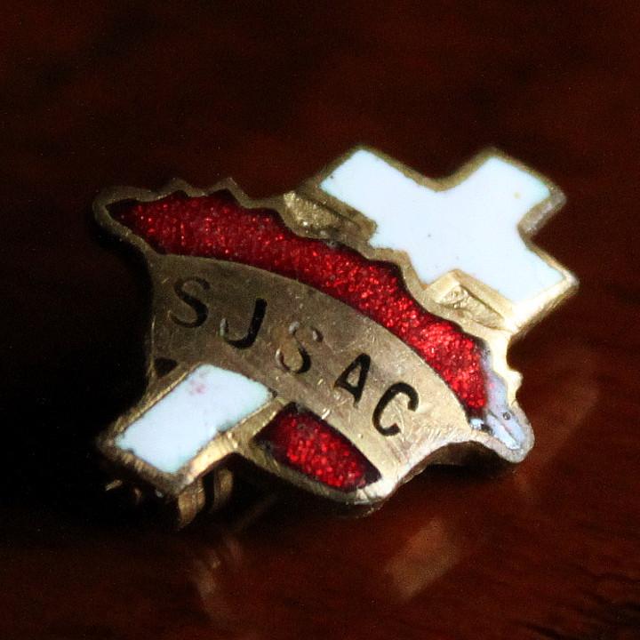 USAヴィンテージ白十字架・赤王冠ピンバッジ|キリスト教聖品SJSACブローチ [ACS-18-015]