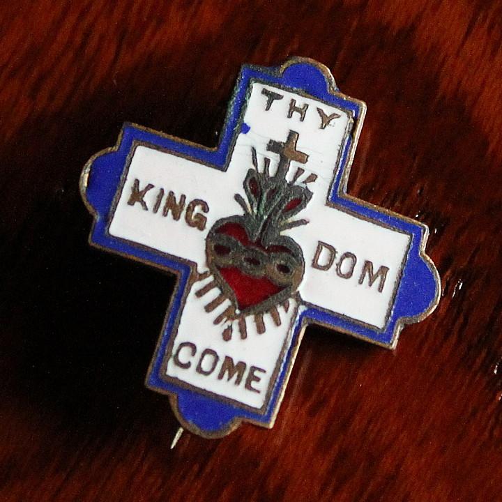 USAヴィンテージ十字架・ハートピンバッジ|キリスト教聖品THY KINGDOM COMブローチ [ACS-18-019]