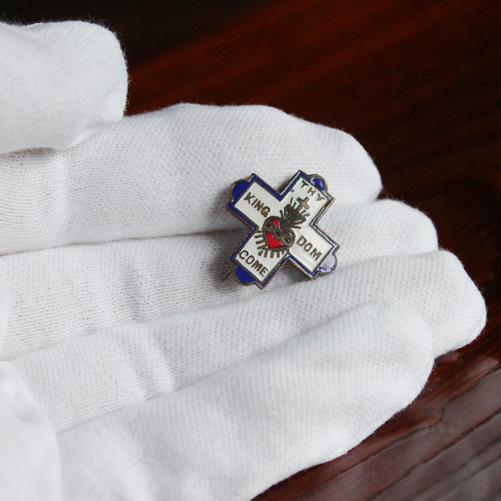 美しいエナメルのキリスト教ヴィンテージブローチ|アンティーク雑貨聖品クリスチャン