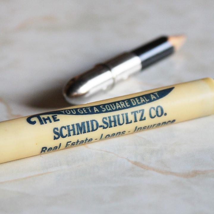 アンティークオフィス雑貨 不動産ローン保険の販売促進用に作られたバレットペンシル弾丸型鉛筆