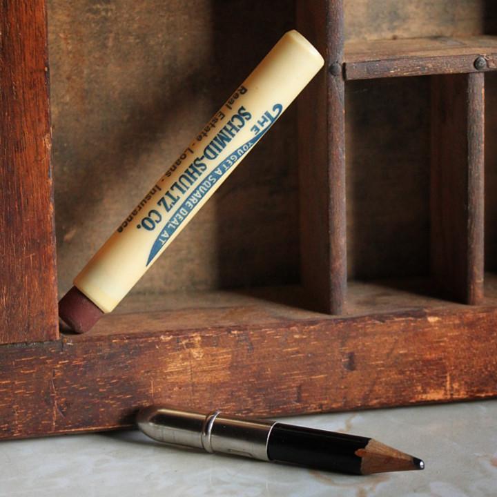アンティーク雑貨ノベルティグッズ バレットペンシル弾丸鉛筆アドバタイジング広告企業もの