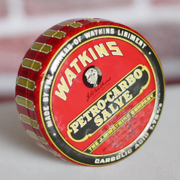 USAヴィンテージティン缶アドバタイジング WATKINS PETRO-CARBO-SALVE薬 [OTH-19-001]