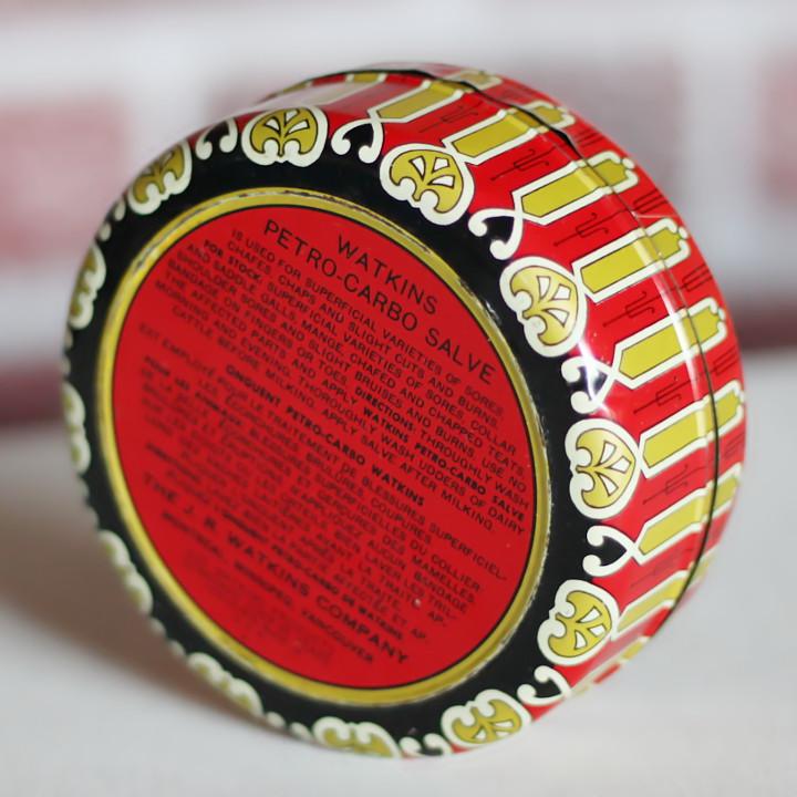 アンティークな渋めのペイントが魅力のティン缶(薬缶) USAヴィンテージティン缶