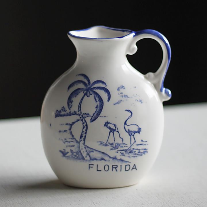 USAアメリカヴィンテージ・フロリダ土産フラミンゴ柄陶器製のミルクポット