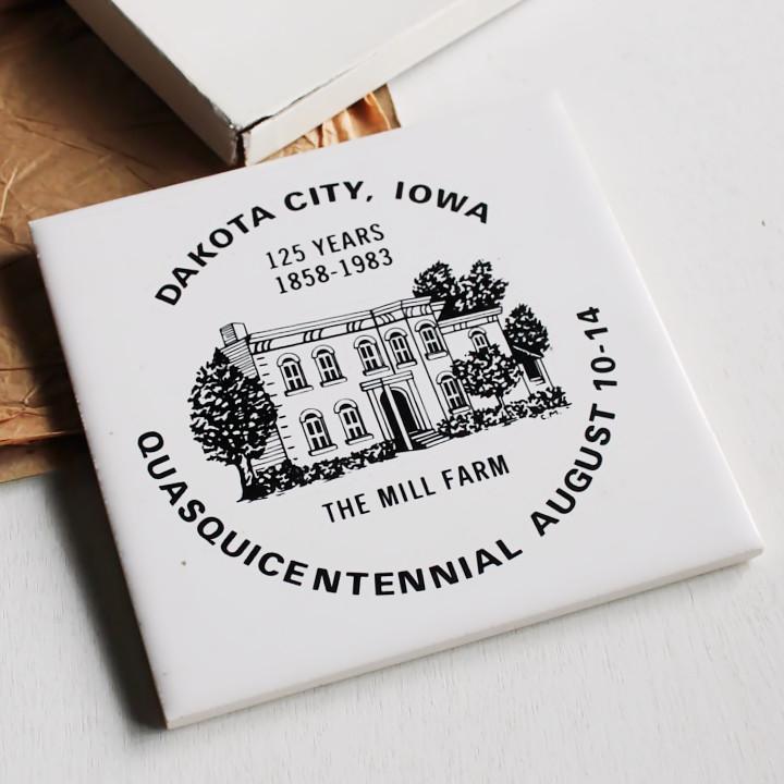 USAヴィンテージ陶器製THE MILL FARM125周年記念タイル|アメリカンアンティーク雑貨