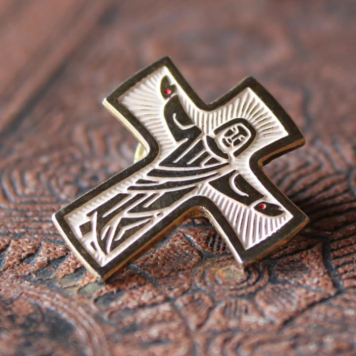 USAヴィンテージイエスキリスト磔刑像のピンバッジ|アンティーククリスチャン聖品バッジ