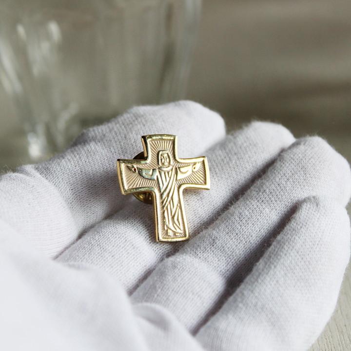 USAヴィンテージ真鍮製イエスキリスト磔刑ピンバッジ|アンティークジュエリー