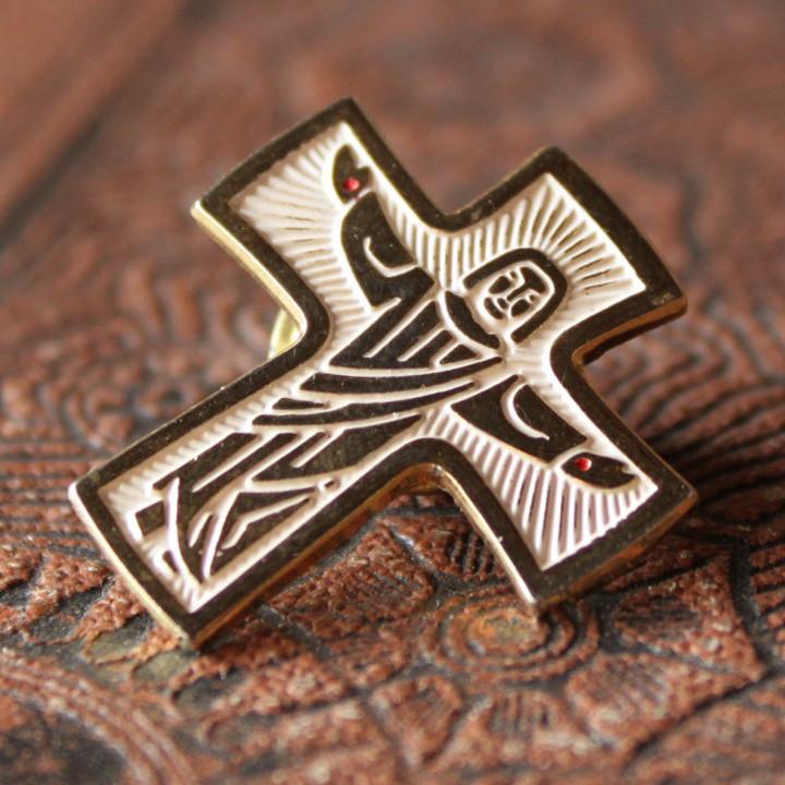 USAヴィンテージピンバッジ十字架磔刑イエスキリスト像ブローチ|アンティーク雑貨聖品