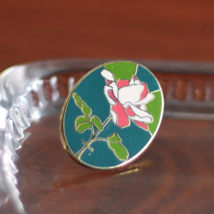 USA90s薔薇と十字架のピンバッジ|薔薇十字フリーメイソン聖品USAヴィンテージ