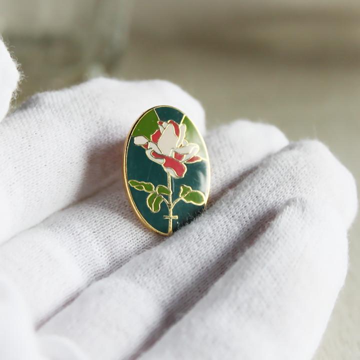 薔薇十字のピンバッジ・バラ・ローズ・クロス|USAアメリカン雑貨ピンズ