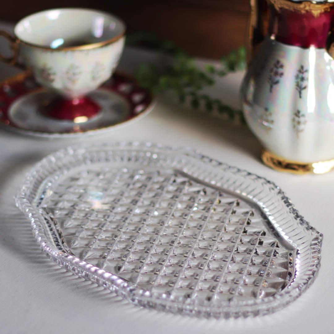 ヴィンテージクリスタルカットガラスプレートトレイ アンティークキッチン雑貨楕円切子硝子皿