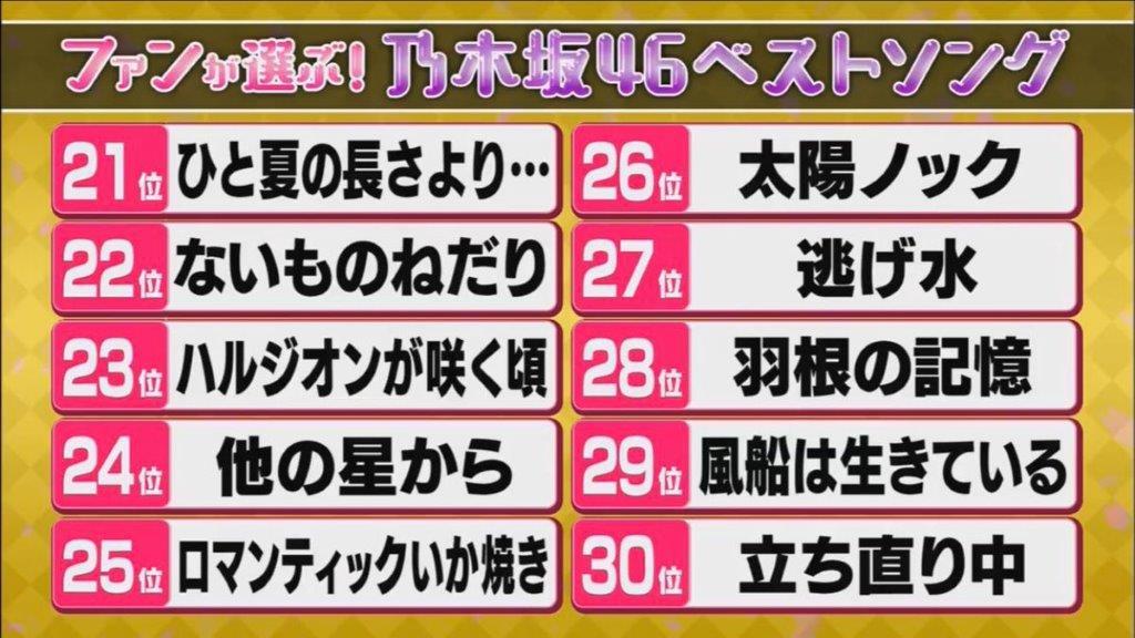 乃木坂ベストソング21位~30位