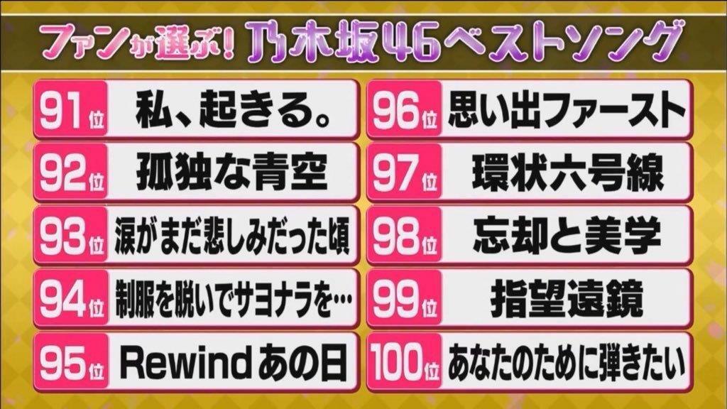 乃木坂ベストソング91位~100位