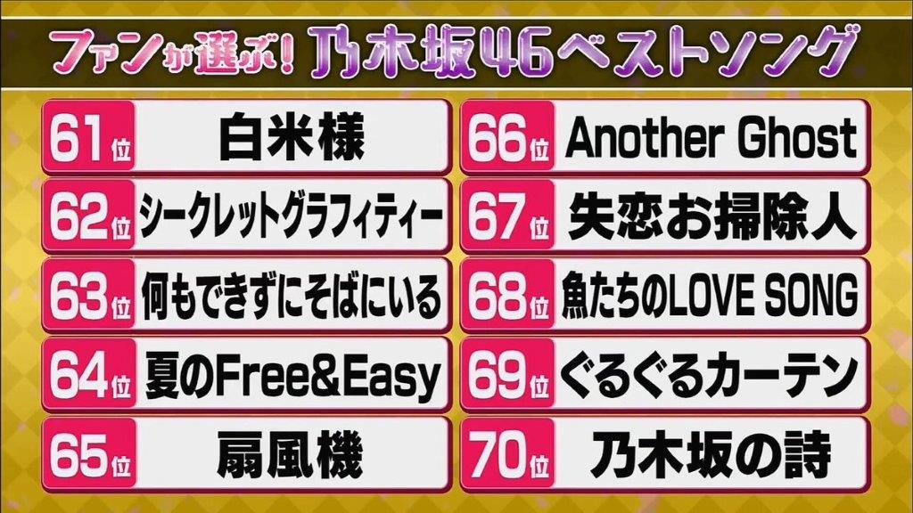 乃木坂ベストソング61位~70位