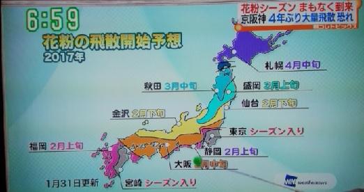 2017年日本の花粉飛散開始時期
