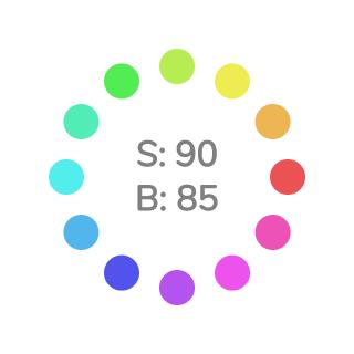 HSB色相環 (S=90%, B=85%)
