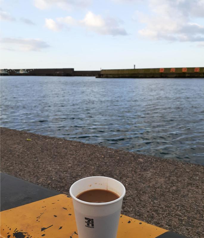 ヤリイカのウキ釣り_越前の漁港_コーヒー