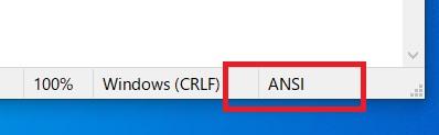 メモ帳の文字コードがANSI