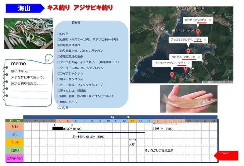 釣りのスケジュール表
