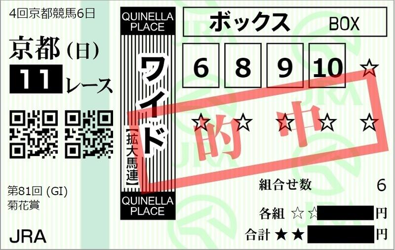 2020年菊花賞、ワイドの的中馬券のイメージ