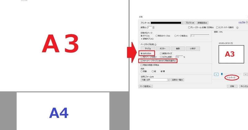 AdobeReader_PDF_A3A4混在の印刷