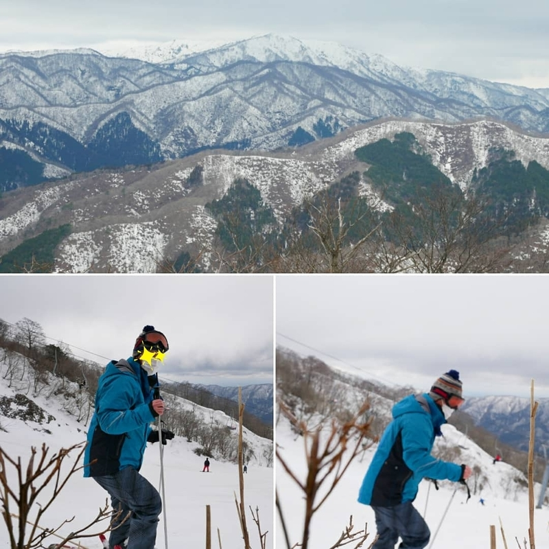 奥伊吹スキー場の天狗岩コースを滑走する