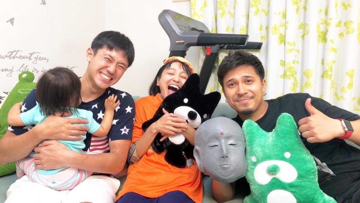 (左から)森渉、金田朋子、木村昴 金田夫妻の自宅でロケ(C)ABEMA,Inc