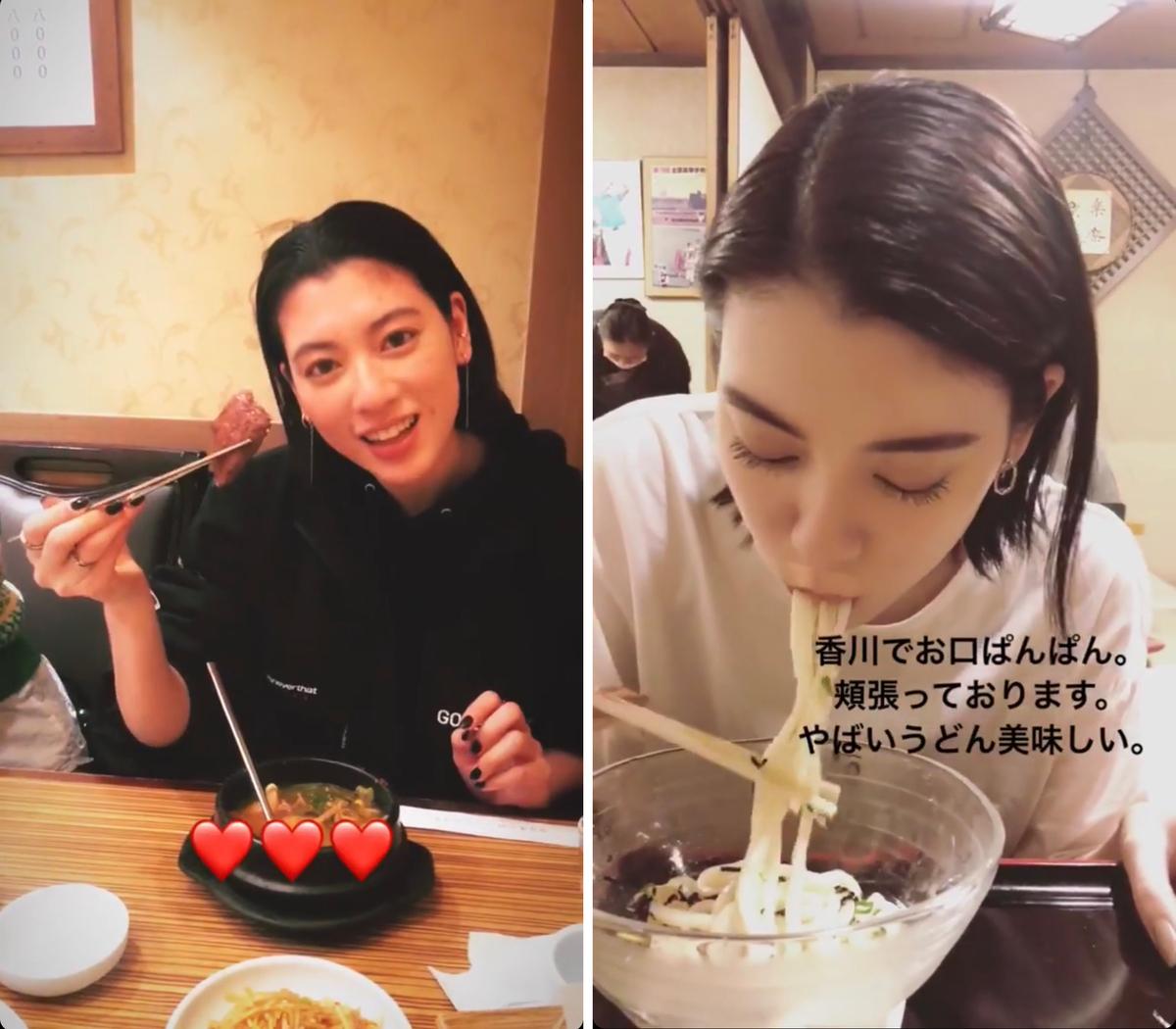 (左)「韓国で焼き肉。しっかり食べてその分ジムで消費。(本当によくたべます)」  (右)「香川でうどん。麺類がとにかく好きです」